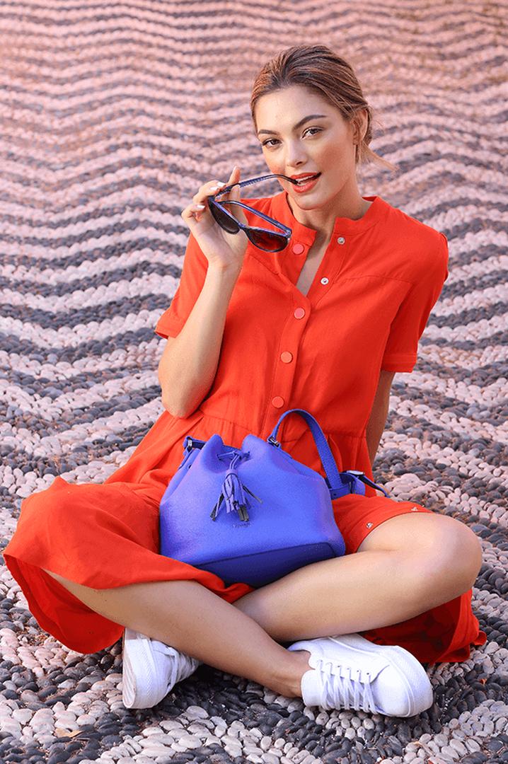 Plume Elegance Bucket Bag Exotic Blue | 1